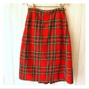 Vintage Plaid Red Midi Wrap Skirt